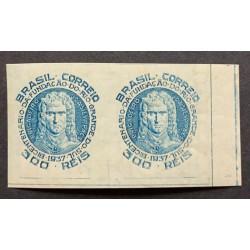 L) 1937 BRAZIL, DIE PROOFS,BICENTENNIAL OF THE RIO FOUNDATION, BRIGADEIRO, J. DA SILVA PAES, BLUE, 300 REIS, XF