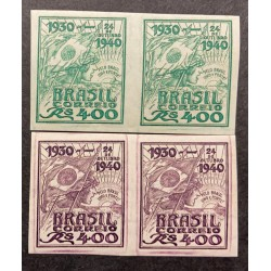 L) 1940 BRAZIL, DIE PROOFS, FLAG, BATTLE, OCTOBER 24TH, UNITED NATIONS DAY, PURPLE AND GREEN, 400 REIS, BLOCK OF 4
