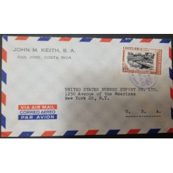 A) 1931, COSTA RICA, FROM SAN JOSE TO NEW YORK-UNITED STATES, AIRMAIL, SAN ISIDRO BATTLEY TRENCH STAMPS