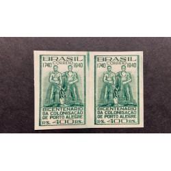 L) 1940 BRAZIL, PROOFS, SOLDIER, BICENTENNIAL OF THE COLONIZATION OF PORTO ALEGRE, GREEN, 400 REIS
