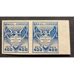 L) 1937 BRAZIL, PROOFS, SQUINCENTENNIAL OF THE NORTH AMERICAN CONSTITUTION, COAT OF ARMS, BLUE, 400 REIS, XF