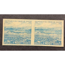L) 1939 BRAZIL, PROOFS, CENTENARY OF THE CITY OF SANTOS, BLUE, ARCHITECTURE, BOAT, 400 REIS
