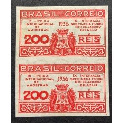 L) 1936 BRAZIL, DIE PROOFS, IX INTERNATIONAL FAIR OF AMOSTRAS, RED, COAT OF ARMS, 200 REIS