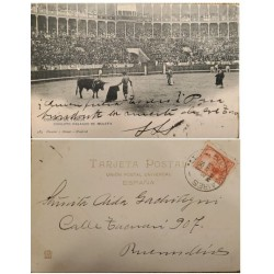 A) 1905, ARGENTINA, POSTCARD, COVER SHIPPED TO BUENOS AIRES, PHOTOGRAPH OF MADRID BULLFIGHT, LIBERTY STAMP