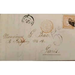 A) 1899, SPAIN, FROM TARRAGONA TO PARIS, CANCELLATION STAMP IN ORANGE, LIBERTY STAMP