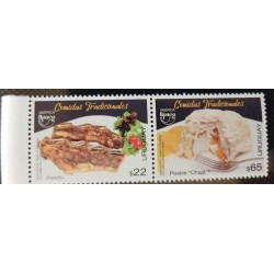 A) 2019, URUGUAY, UPAEP AMERICA TYPICAL MEALS, FOODS SET IN PAIR, SCOTT 2688, MNH