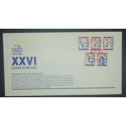 A) 1996, MEXICO, FDC, GYMNASTICS, OBSTACLE RACING, FOOTBALL, RACING, HORSE RIDING, ATLANTA OLYMPIC GAMES