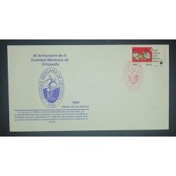 A) 1996, MEXICO, FDC, ANNIVERSARY OF THE NATIONAL SOCIEAD OF ORTHOPEDICS, MEXICAN SOCIETY