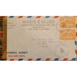 L) 1943 COSTA RICA, HEREDIA NORMAL SCHOOL, ARCHITECTURE, ORANGE, 30CENTS, AIRMAIL, CENSORSHIP, CIRCULATED COVER