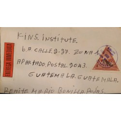 ) 1971 COSTA RICA, TRIANGLE, 4 CENTS, ANTEATER, BEAR, IMMEDIATE DELIVERY, CIRCULATED COVER FROM COSTA RICA