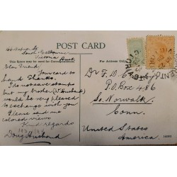 J) 1908 VICTORIA AUSTRALIA, MULTIPLE STAMPS, CIRCULATED COVER, FROM USA