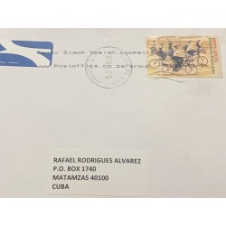 J) 2015 SOUTH AFRICA, BICYCLE, WITH SLOGAN CANCELLATION, AIRMAIL, CIRCULATED COVER