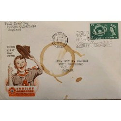 J) 1957 ENGLAND, JUBILEE JAMBOREE, SUTTON COLDFIELD, CHILD, WITH SLOGAN CANCELLATION, AIRMAIL