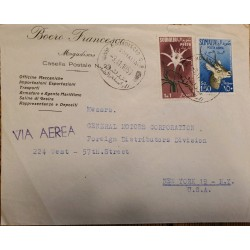 J) 1953 SOMALIA, GOAT, FLOWER, MULTIPLE STAMPS, AIRMAIL, CIRCULATED COVER, FROM SOMALIA TO NEW YORK