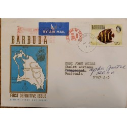 J) 1970 ANTIGUA AND BARBUDA, FRENCH ANGELFISH, MAP, WITH SLOGAN CANCELLATION, AIRMAIL, CIRCULATED