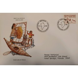 J) 1986 GREENLAND, DAILY LIFE IN THULE, AIRMAIL, CIRCULATED COVER, FROM GREENLAND TO FLORIDA, FDC