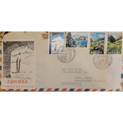 J) 1972 ANDORRA, LANDSCAPE, MULTIPLE STAMPS, AIRMAIL, CIRCULATED COVER, FROM ANDORRA TO USA