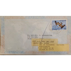J) 1967 SAINT CRISTOBAL AND NEVIS, EAGLE, AIRMAIL, CIRCULATED COVER, FROM ANGUILLA TO NEW JERSEY