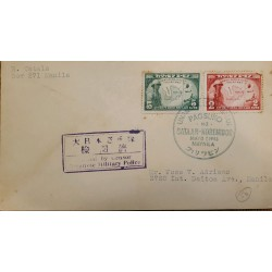 J) 1943 JAPAN, MAP, MULTIPLE STAMPS, AIRMAIL, CIRCULATED COVER, FROM RYUKYU