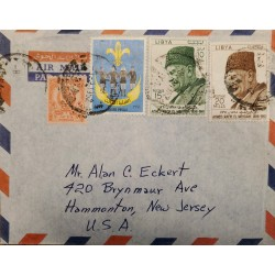 J) 1961 LYBIA, SCOUTH, MULTIPLE STAMPS, AIRMAIL, CIRCULATED COVER, FROM LYBIA TO NEW JERSEY