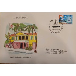 J) 1979 COCKS ISLANDS, INAUGURATION OF POSTAL SERVICE, HOUSE, AIRMAIL, CIRCULATED COVER, FROM COCK ISLANDS TO MIAMI