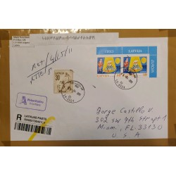 J) 2011 LATVIA, PAIR, PRIORITARIE MAIL, REGISTERED, AIRMAIL, CIRCULATED COVER, FROM LATVIA TO MIAMI
