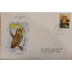 J) 1982 PEOPLE'S REPUBLIC OF BENIN, NATIVE OWLS, FDC AIRMAIL, CIRCULATED COVER, FROM BENIN TO CHICAGO