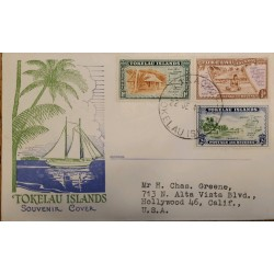 J) 1948 TOKELAU ISLAND, BOAT, PALMS, HOUSES, MULTIPLE STAMPS, AIRMAIL, CIRCULATED COVER, FROM TOKELAU TO CALIFORNIA