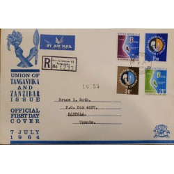 J) 1954 TANGANICA, MULTIPLE STAMPS, AIRMAIL, CIRCULATED COVER, FROM TANGANICA TO UGANDA