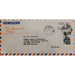 J) 1957 SPANISH GUINEA, MULTIPLE STAMPS, AIRMAIL, CIRCULATED COVER, FROM SPANISH GUINEA TO NEW YORK