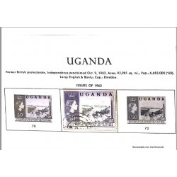 A) 1962, UGANDA, FORMER BRITISH PROTECTORATE, INDEPENDENCE PROCLAIMED OCT 9 1962