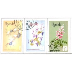 A) 1962, UGANDA, SET OF 3 STAMPS, FLOWERS, WITH OVERPRINT, ACACIA, CLERODENDRUM, ACANTHUS, MULTICOLORED