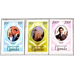 A) 1981, UGANDA, ROYAL WEDDING – STAMPS REISSUED WITH NEW FACE VALUES, PRINCE CHARLES AND LADY DIANA