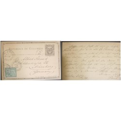 A) 1898, COLOMBIA, POSTAL STATIONARY, SHIPPED TO GERMANY
