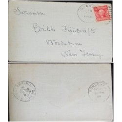 A) 1906, PORTO RICO, FROM PONCE TO NEW JERSEY, VINTAGE 2 CENT GEORGE WASHINGTON US POSTAGE SAIL RED, OLD CANCELED