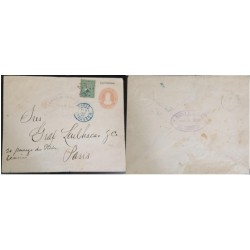 A) 1889, EL SALVADOR, FROM LA LIBERTAD TO PARIS, POSTAL STATIONARY, U.P.U, NATIONAL EMBLEM STAMP