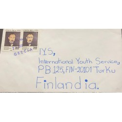 M) 1995, COSTA RICA, CHARACTERS, JOSE MARTI, MAIL, CIRCULATED COVER FROM COSTA RICA TO FINLANDIA