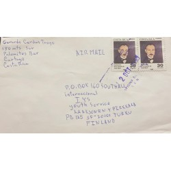 M) 1995, COSTA RICA, CHARACTERS, JOSE MARTI, AIRMAIL, CIRCULATED COVER FROM COSTA RICA TO FINLANDIA
