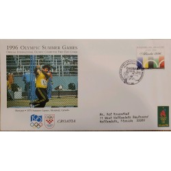 J) 1996 CROATIA, OLYMPIC SUMMER GAMES, AIRMAIL, CIRCULATED COVER, FROM CROATIA TO FLORIDA