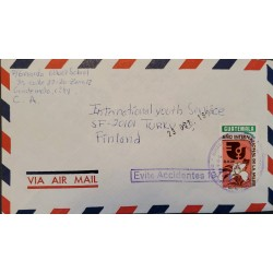 A) 1976, GUATEMALA, CIRCULATED COVER TO FINLAND, AERIAL, SLOGAN CANCELATION AVOID ACCIDENTS, INTERNATIONAL YEAR OF WOMEN STAMP