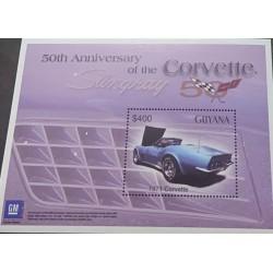 J) 1971 GUYANA, 50TH ANNIVERSARY OF THE CORVETTE STINGRAY, OLD CARS, SOUVENIR SHEET, XF