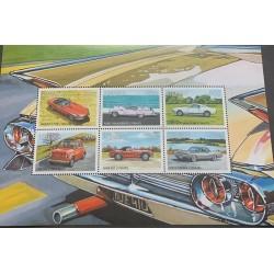 J) 1957 LIBERIA, MUSTANG, BMW, FIAT, OLD CARS, SOUVENIR SHEET, XF