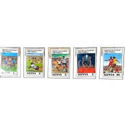 A) 1986, KENYA, WORLD CUP FOOTBALL MEXICO, MULTICOLORED, SET OF 5 STAMPS