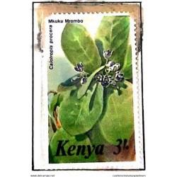 A) 1985, KENYA, FLOWER, SODOM APPLE, MULTICOLORED