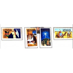 A) 1986, KENYA, CHRISTMAS, MULTICOLORED, SET OF 4, XF