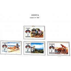 A) 1987, KENYA , SET OF 4, TOURISM AKAMA WOOD CARVERS, BEACH, PANORAMICS, LION, MULTICOLORED