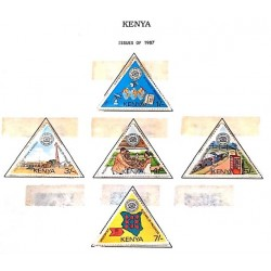 A) 1987, KENYA, TRIANGLE, 10TH ANNIVERSARY OF THE NATIONAL COMPANY OF POST AND TELECOMMUNICATIONS, SET OF 5 STAMPS