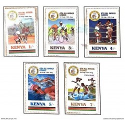 A) 1987, KENYA, VOLLEYBALL, CYCLING, BOXING, SWIMMING, OBSTACLE RACING, IV AFRICAN-NAIROBI SPORTS GAMES, MULTICOLORED