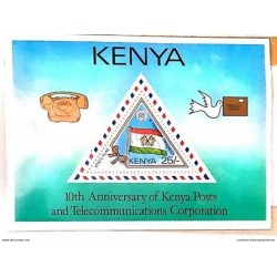 A) 1987, KENYA, ANNIVERSARY OF THE NATIONAL COMPANY OF POST AND TELECOMMUNICATIONS, MULTICOLORED