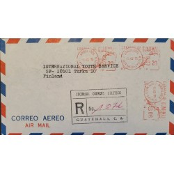 A) 1975, GUATEMALA, METER STAMP, QUETZAL, REGISTERED, CIRCULATED COVER TO FINLAND, AIRMAIL, XF